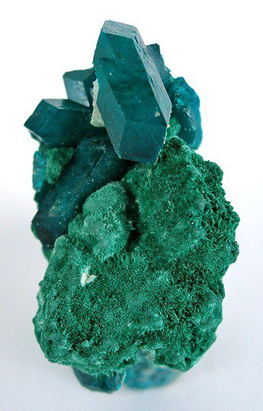 dioptase on malachite - Namibia