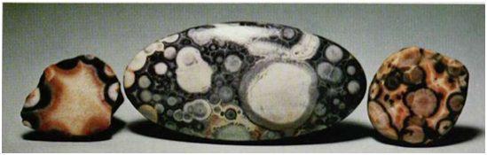 THOMSONITE: New Mexico (cabochon 23 ~47 mm), Isle Royale, Lake Superior, Michigan (~½ inch each, rough stones)