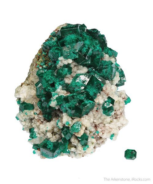 dioptase rough and cut set - Namibia