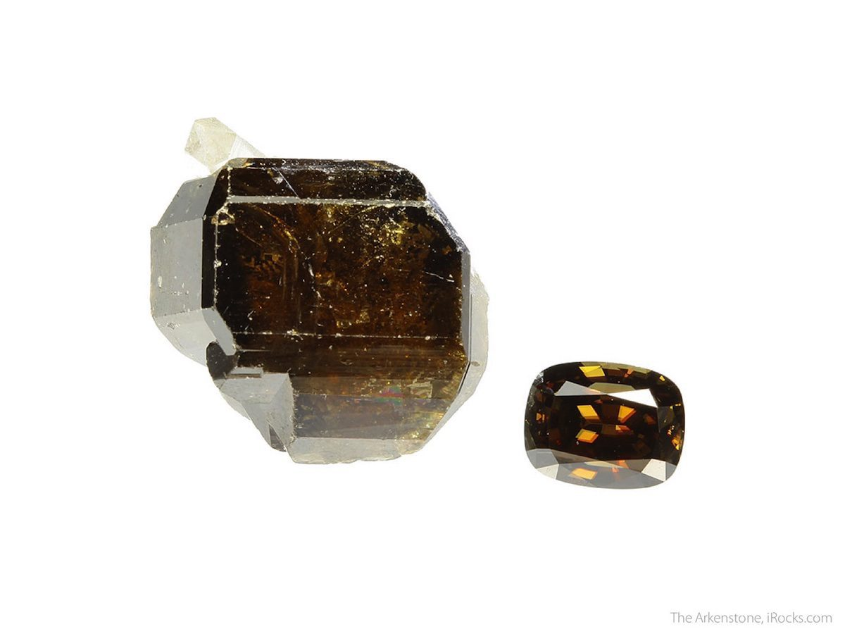 cassiterite rough and cut set - Sri Lanka and Bolivia