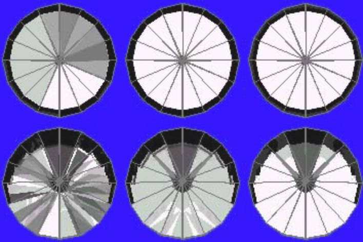 41° Pavilion and 13° Crown Ray Traces – gram wagon wheel gem design