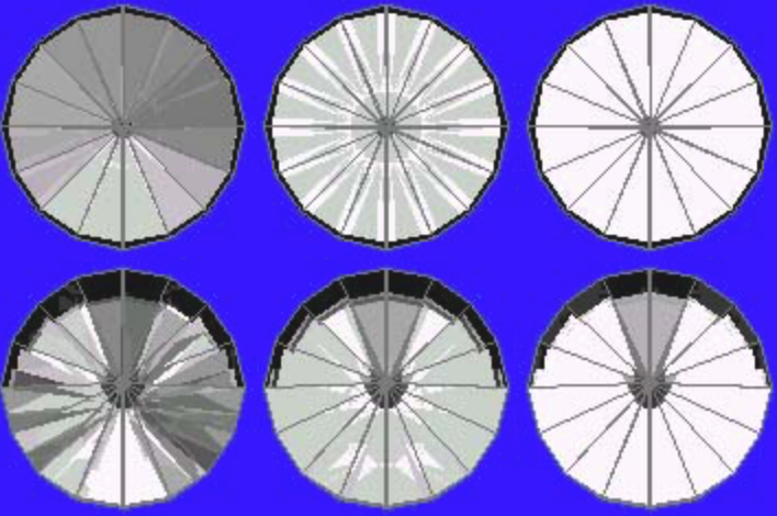 42° Pavilion and 13° Crown Ray Traces – gram wagon wheel gem design