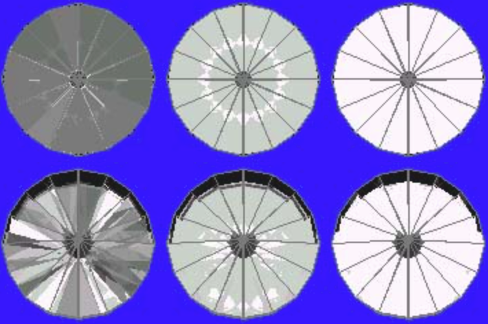 42° Pavilion and 16° Crown Ray Traces – gram wagon wheel gem design