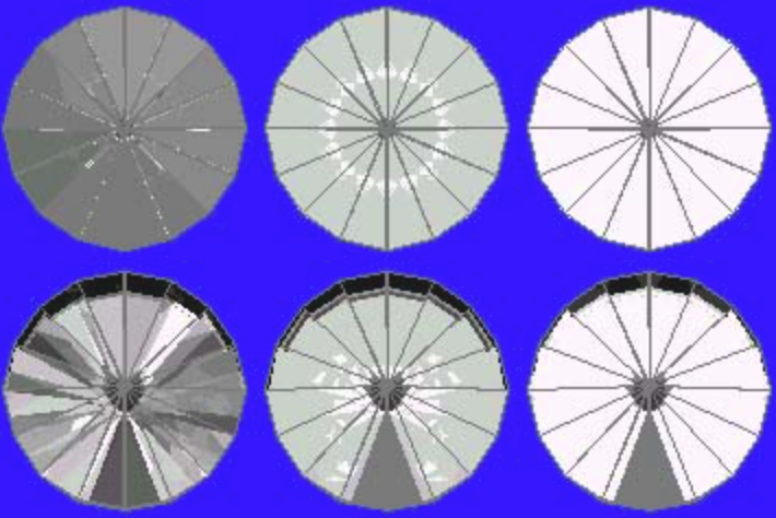 43° Pavilion and 13° Crown Ray Traces – gram wagon wheel gem design