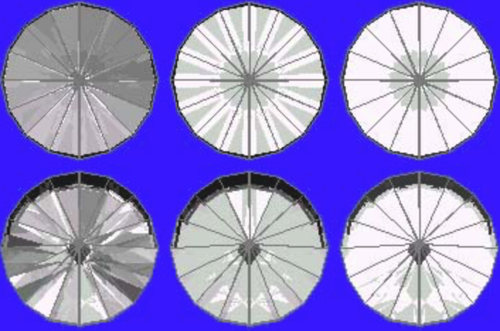 41° Pavilion, 16° Crown Sapphire Ray Traces – gram wagon wheel gem design