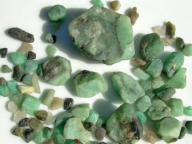 water-worn Colombian emeralds