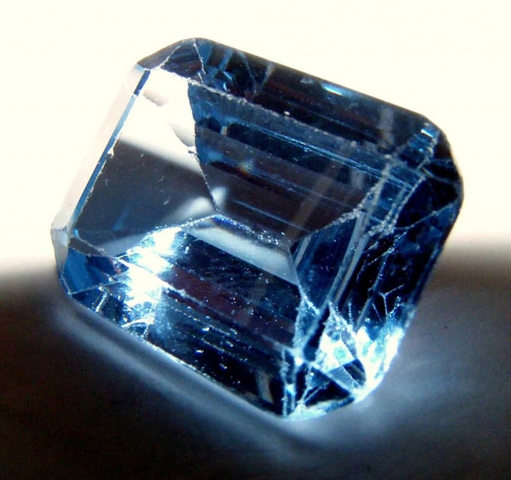 """Aquamarine; blue beryl"" by Decym92. Public Domain."