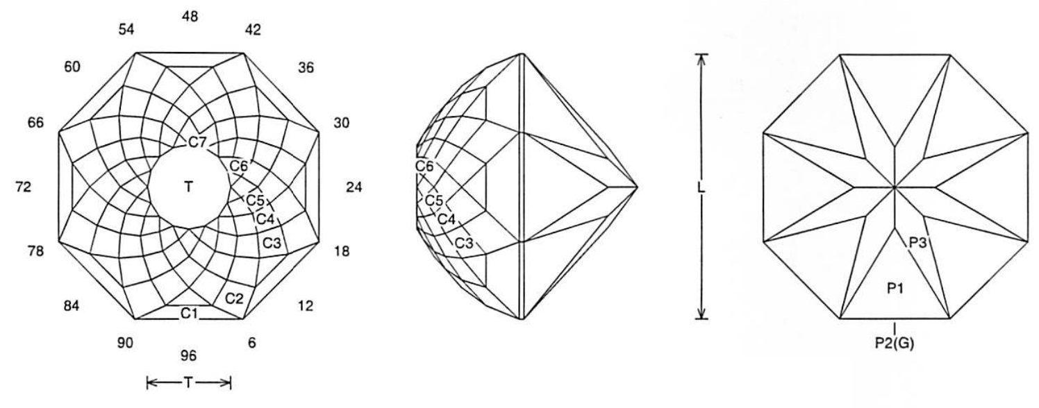 faceting design diagram  double rose