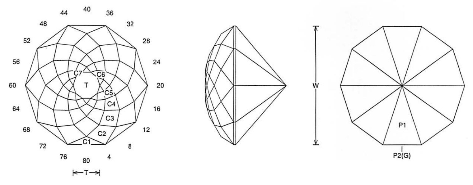 faceting design diagram  floating rose - quartz