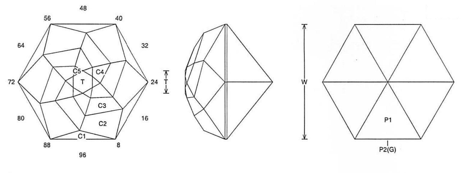 faceting design diagram  pink rose bud