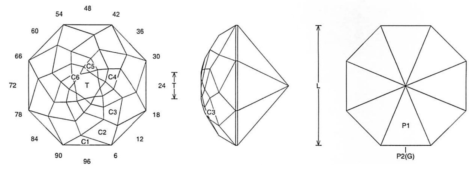 faceting design diagram  rose reflections - quartz