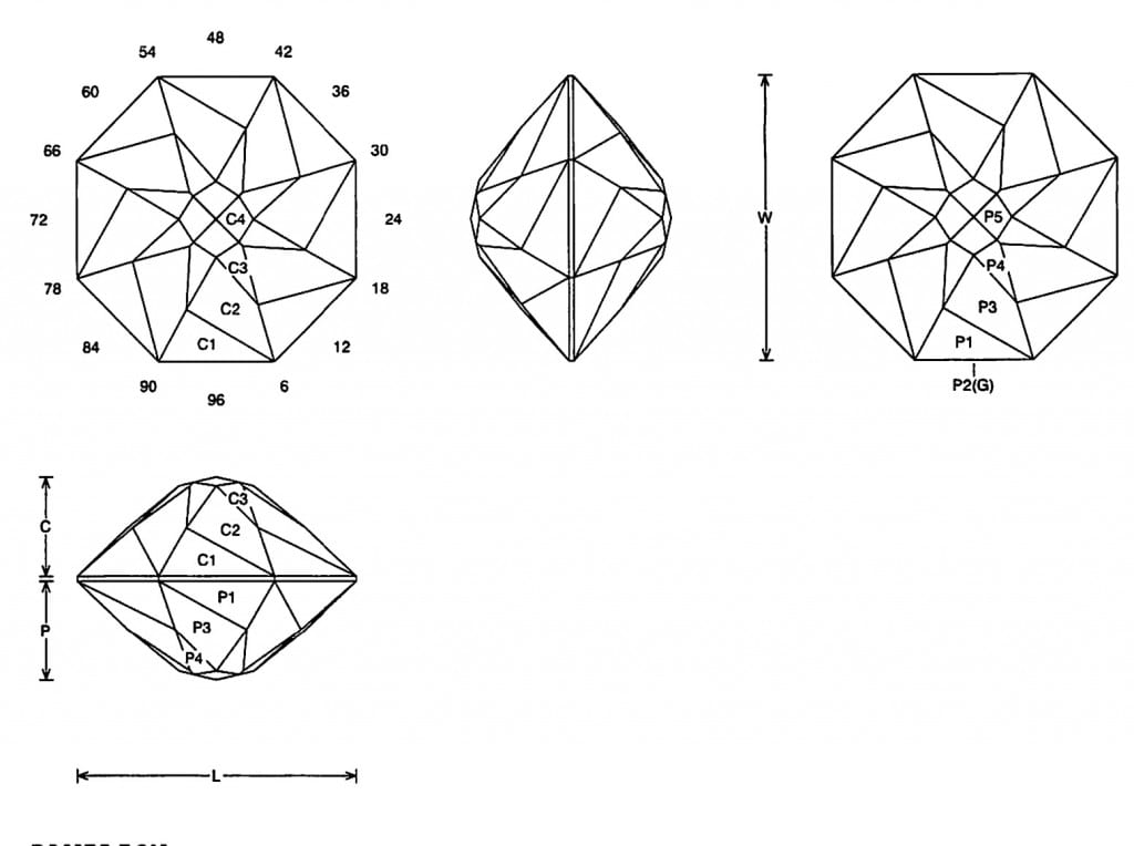 faceting design diagram  spinner - quartz