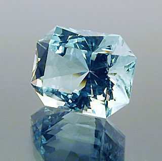 "My own concoction.  I call it a ""Scintillator Rectangle"" Cut Aquamarine, Afghanistan/Pakistan, 5.79 cts"
