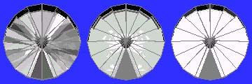 43 degree pavilion, 13 degree crown tilted 10 degrees
