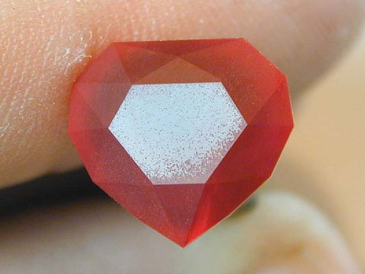 Table cut with pitting - heart ruby