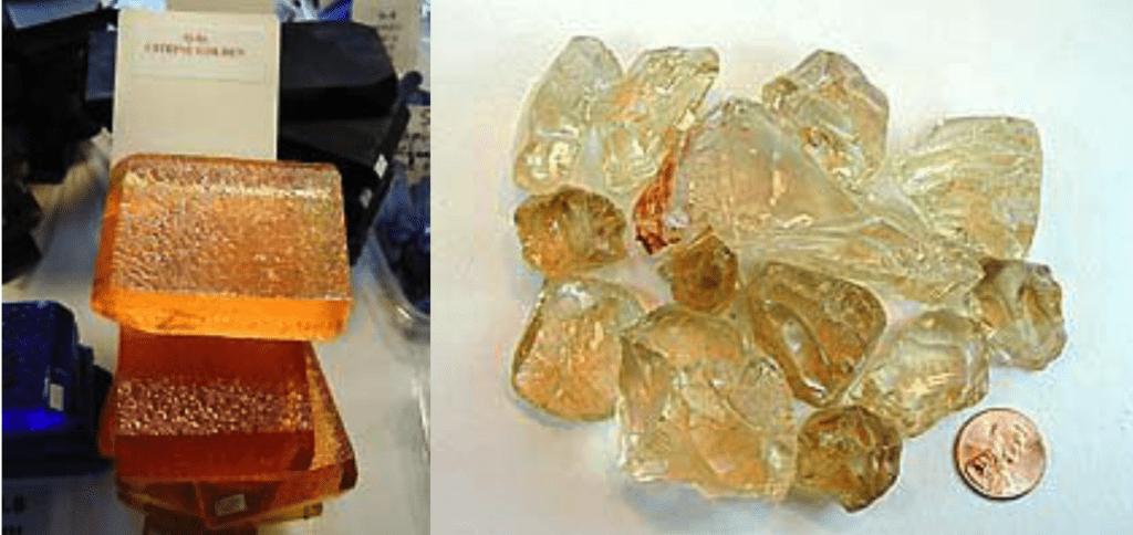natural vs. synthetic quartz rough - citrine