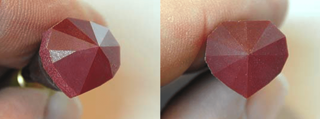 Facets cut to meet with 600-grit lap - heart ruby