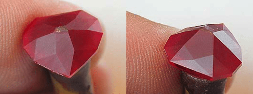 Cut in C10 (left) to meet girdle and C11 (right) to meet C6 using a 1,200-grit lap - heart ruby