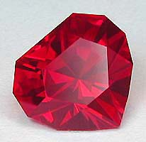 Sinple Heart in man-made Ruby