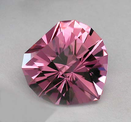 "Pink Nigerian Tourmaline cut in my ""Heart Squared"" design"