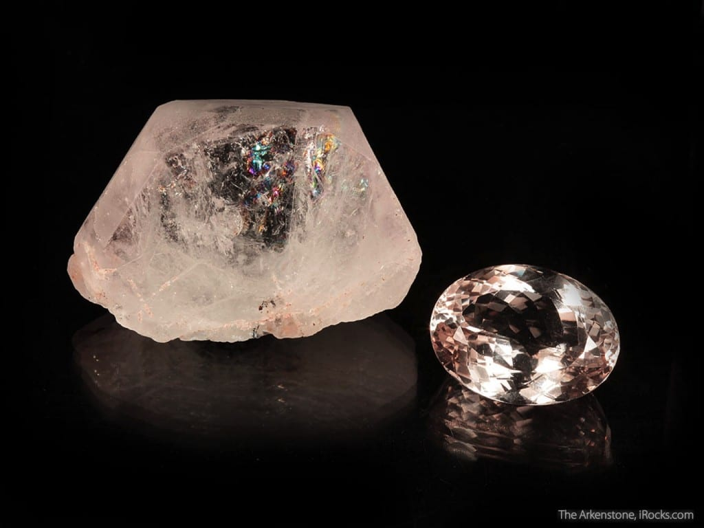 """Morganite (rough and cut set),"" Pech, Kunar Province, Afghanistan. © Rob Lavinsky, www.iRocks.com. Used with permission."