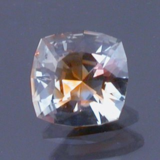 Brilliant Square Cushion Cut Bi-Color Sapphire, Montana, U.S.A., 0.79 cts