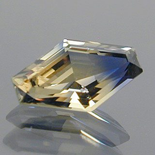 Step Cut Diamond Shape Cut Bi-Color Sapphire, Tanzania, 0.64 cts