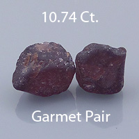 Rough version of Square Barion Cut Malaya Garnet Pair
