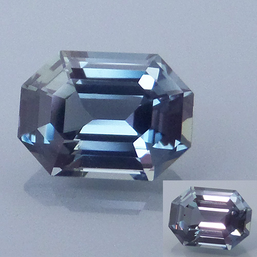 Finished version of Emerald Cut Color Change Sapphire