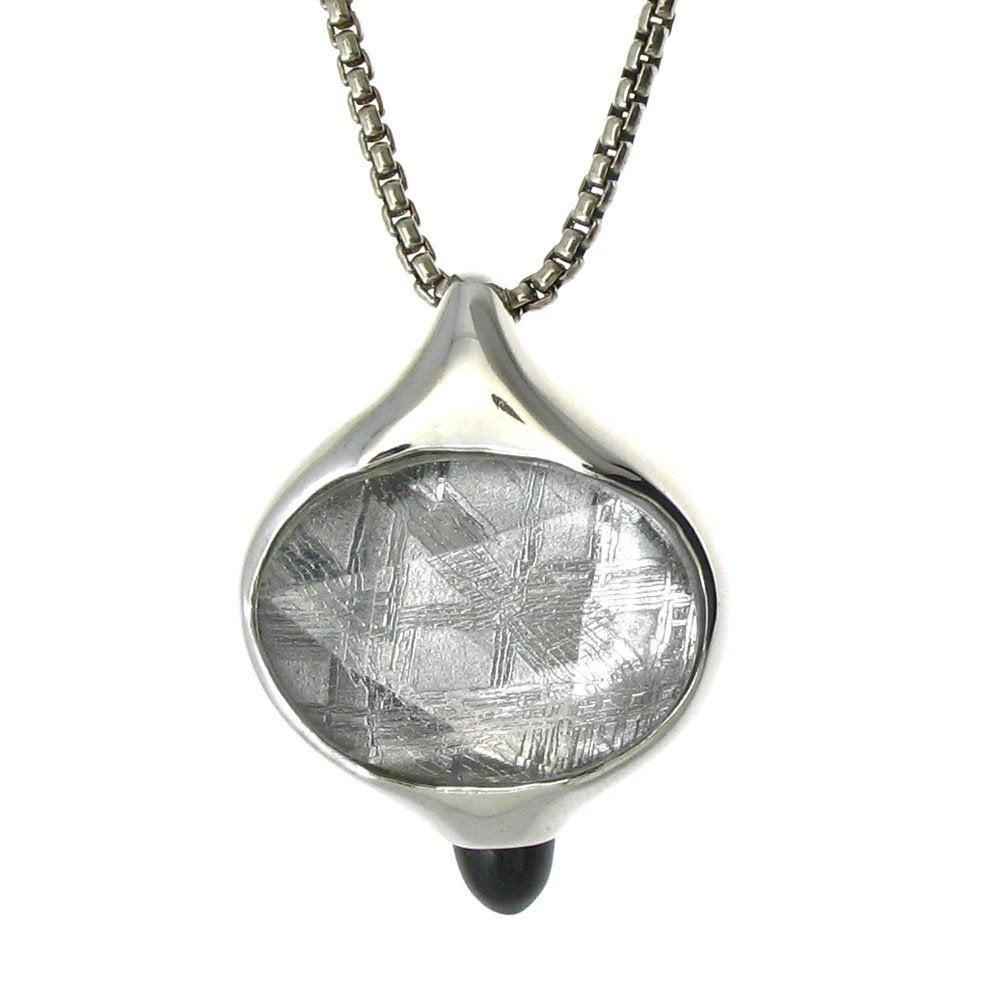 meteorite and onyx pendant