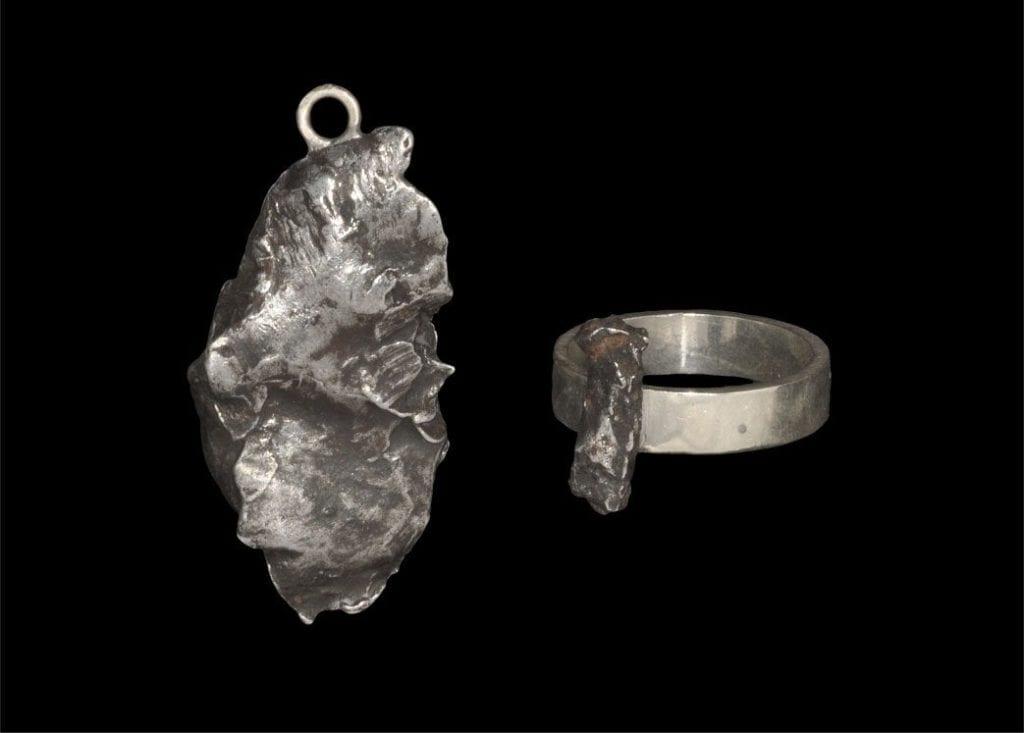 meteorite jewelry - pendant and ring