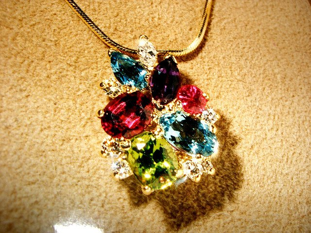 alternative birthstones - pendant with multiple gems