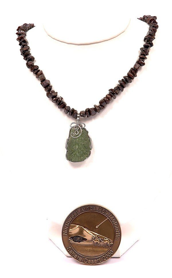 moldavite and meteorite pendant with medal
