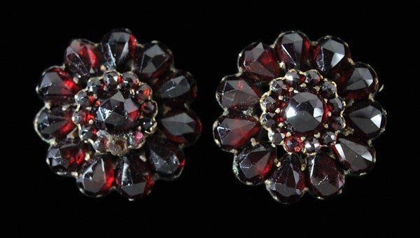 Vintage Bohemian garnet earrings