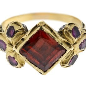 almandine garnet ring - 19th century German