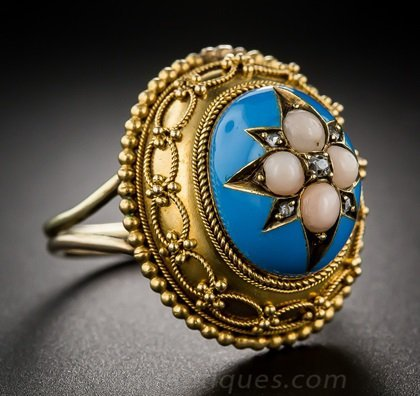c84bcc7a4 Etruscan motif – antique engagement rings. This bold Mid-Victorian ring  features the ...