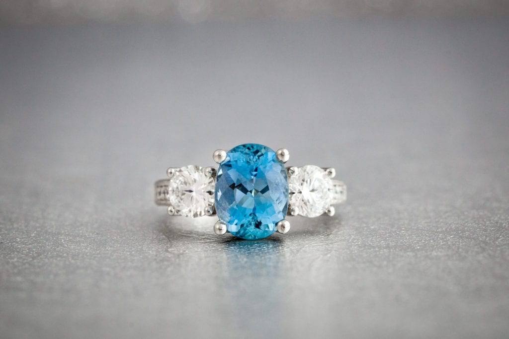 aquamarine - colored gemstone engagement rings
