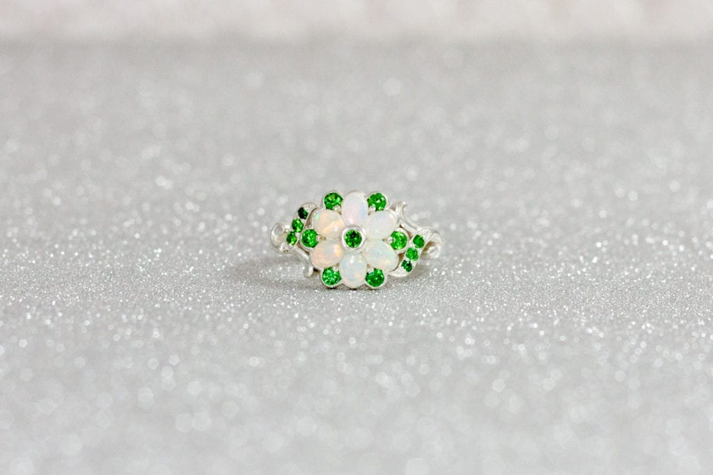 opals and emeralds - colored gemstone engagement rings