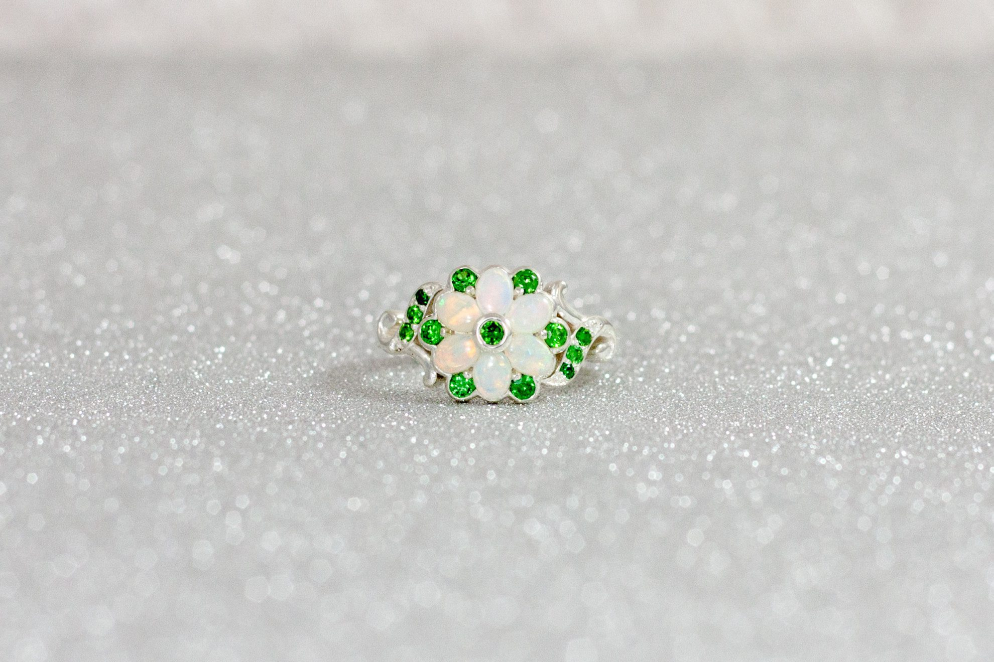 Opals And Emeralds  Colored Gemstone Engagement Rings
