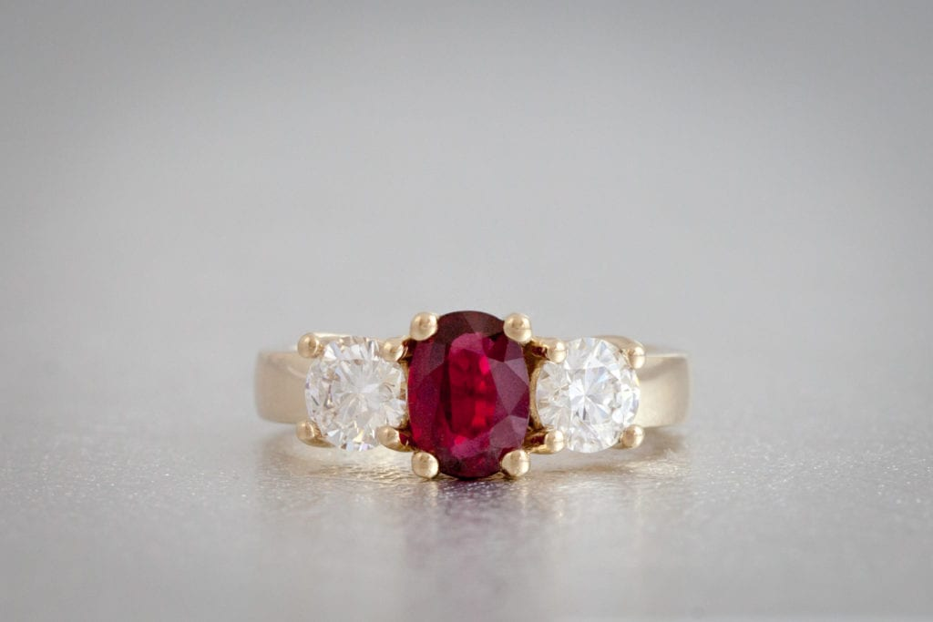 ruby - colored gemstone engagement rings