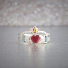claddagh bridal set - colored gemstone engagement rings
