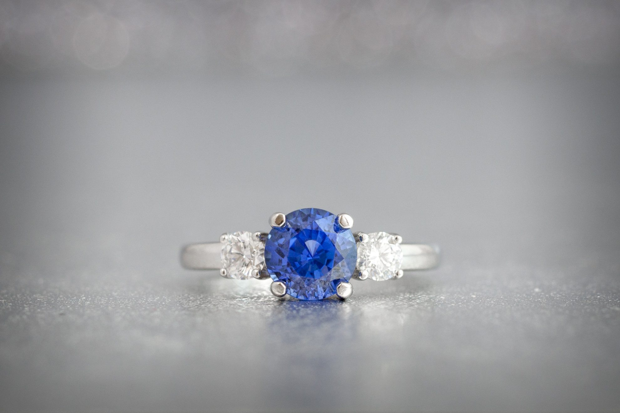 pin round sapphire rings engagement stones quality a vintage platinum diamond gem ring