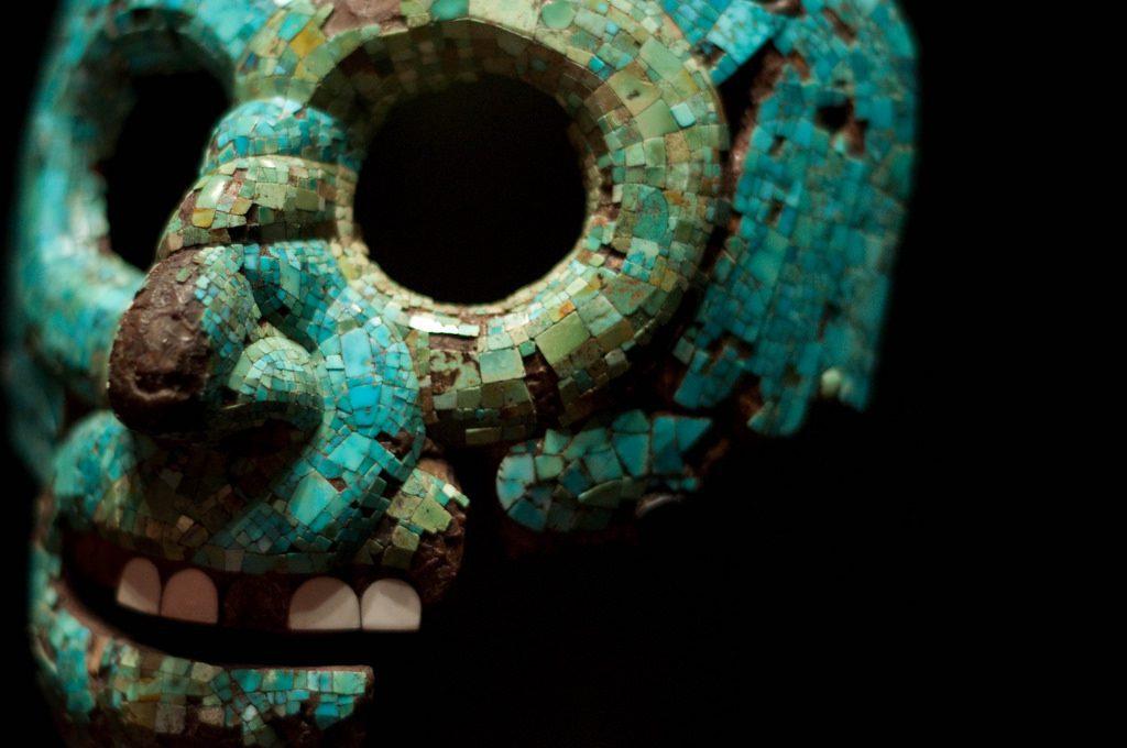 Turquoise mosaic mask - Aztec