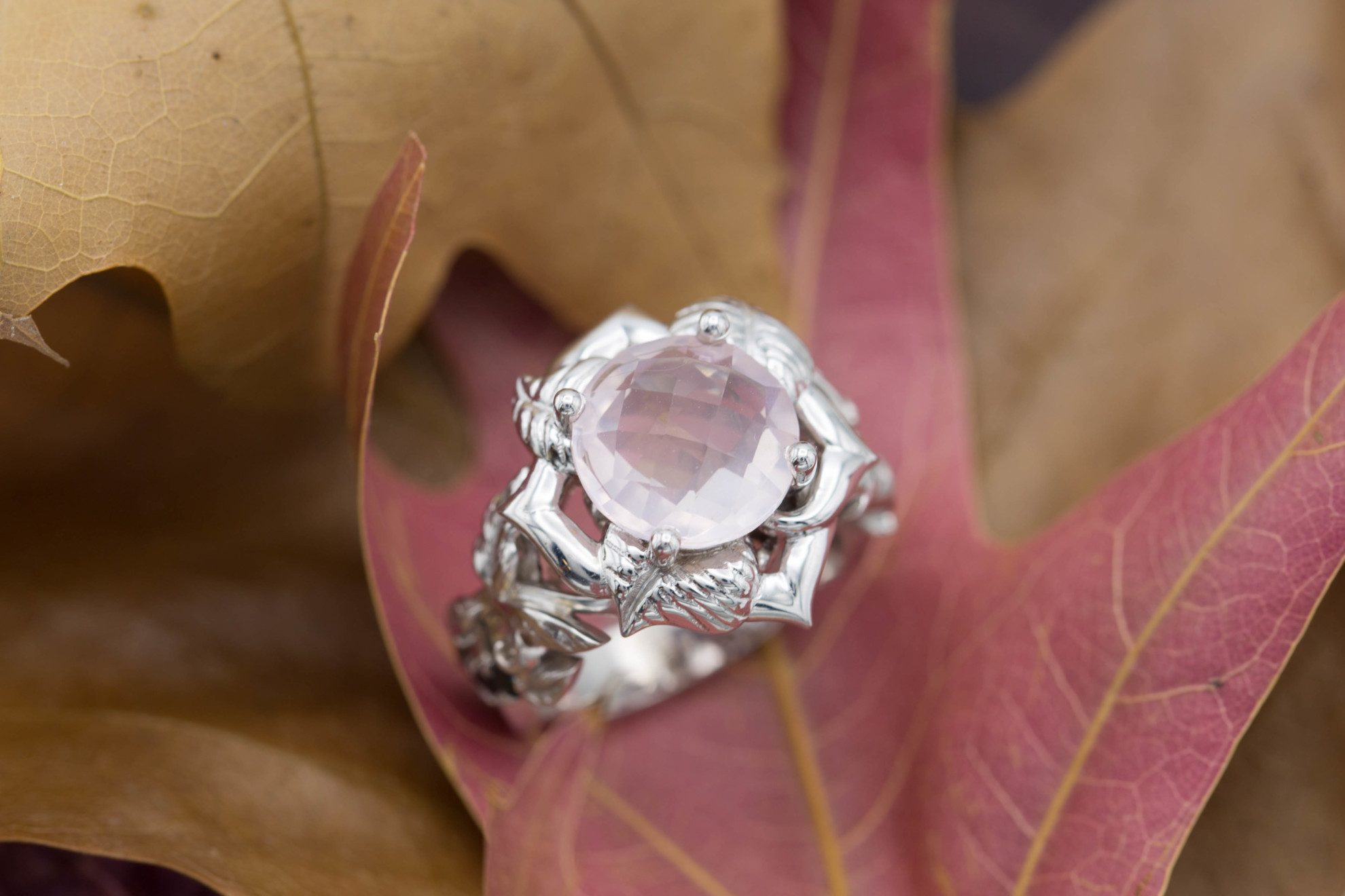 rose quartz floral ring 1