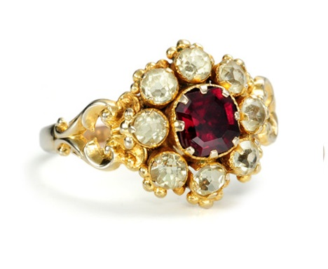 Garnet Ring - Victorian Period jewelry