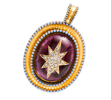 Locket with Cab and Embedded Gems - Grand Period jewelry