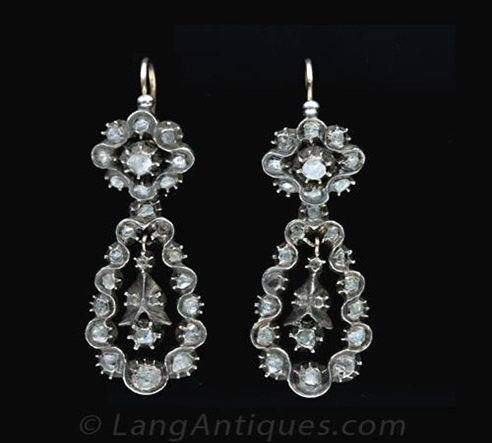 Pendeloque Earrings - Georgian jewelry