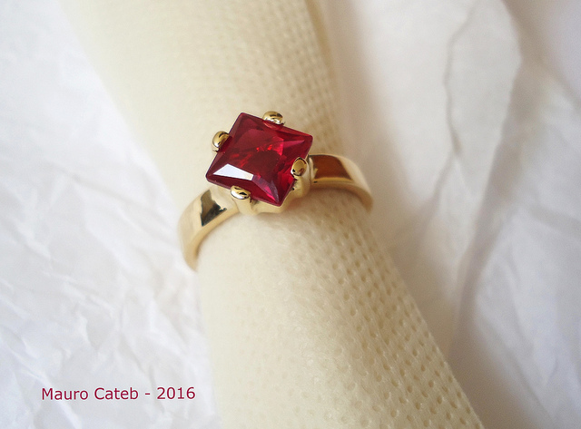 ruby and gold ring - colored gemstone
