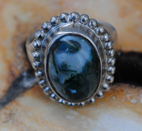 gemstone personality - moss agate ring
