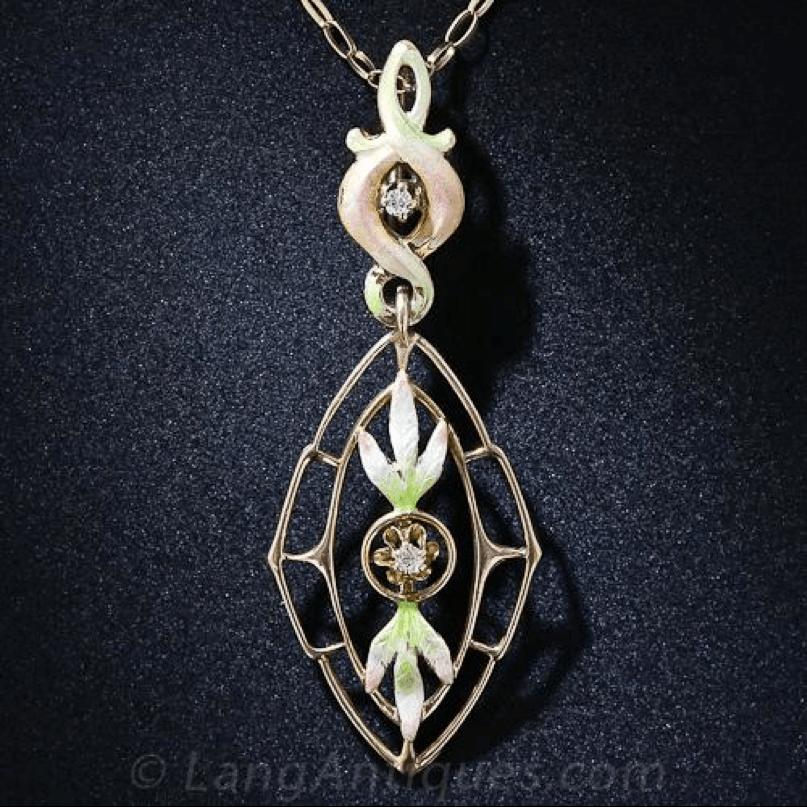 Belle Époque jewelry Lavaliere pendant featuring pastel enameling